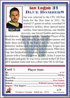 2012 Jogo CFL Regular card back