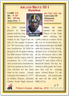 2010 Jogo CFL  pre-production sample card back