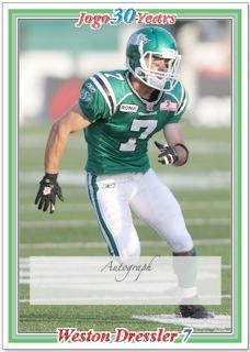 2010 Jogo CFL  pre-production sample signature card