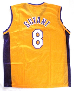 Kobe Bryant Los Angeles Lakers gold replica basketball jersey back