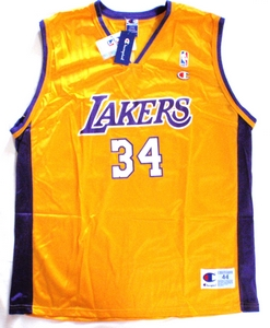 Shaq O`Neal Los Angeles Lakers gold replica basketball jersey