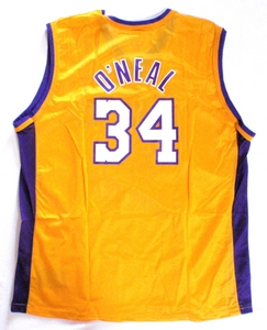 Shaq O`Neal Los Angeles Lakers gold replica basketball jersey back