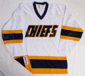 Charlestown Chiefs white hockey jersey