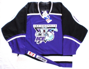 Indianapolis Ice purple authentic pro hockey jersey