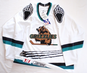Denver/Utah Grizzlies white authentic pro hockey jersey