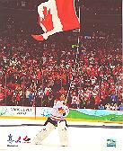Roberto Luongo carrying Canada Flag