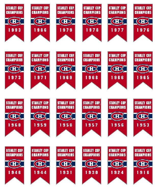 24 Montreal Canadiens Stanley Cup Champions Banner Pins