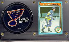 Bernie Federko autographed card with team puck in acrylic holder