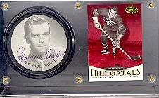 Maurice Richard autographed photo puck with card in acrylic holder