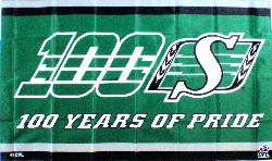 Saskatchewan Roughriders - 100 Years of Pride 5x3 horizontal flag