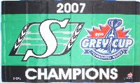 Saskatchewan Roughriders 2007 Grey Cup Champions 5x3 horizontal flag