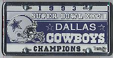 white Dallas Cowboys 93 Super Bowl Champions license plate & frame