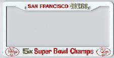 white San Francisco 49ers license plate frame