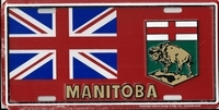 red Manitoba license plate