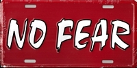 red No Fear license plate