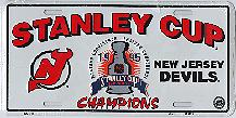 white New Jersey 95 Stanley Cup Champions license plate