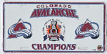 white Colorado Avalanche 96 Stanley Cup Champions license plate