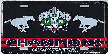 98 Grey Cup Champions Calgary Stampeders license plate
