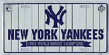 white New York Yankees 1998 World Series license plate