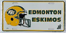 white Edmonton Eskimos license plate