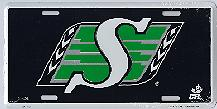 Saskatchewan Roughriders black metal license plate