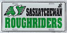 Saskatchewan Roughriders white metal license plate
