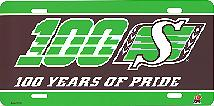 black & green airbrushed Saskatchewan Roughriders 100 Years of Pride license plate