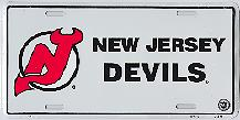 white New Jersey Devils black letters license plate