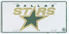 white Dallas Stars license plate