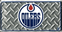 silver tred Edmonton Oilers orange drop license plate