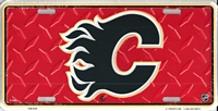red tred Calgary Flames license plate