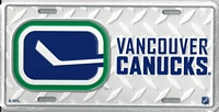 white tred, rink logo Vancouver Canucks license plate