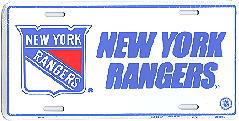 white New York Rangers license plate