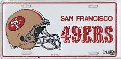 white old San Francisco 49ers license plate