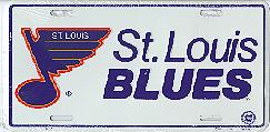 white, old logo St Louis Blues license plate