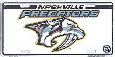 white Nashville Predators license plate