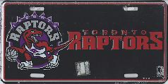 black Toronto Raptors license plate