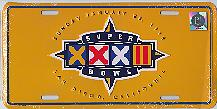 yellow Super Bowl XXXII host city license plate